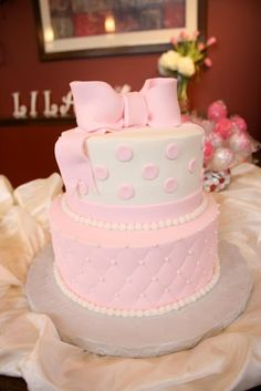 Pretty Pink cake This would be an adorable baby shower cake!