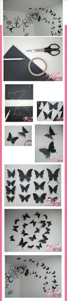 Wow, was für eine geniale Dekoidee mit Papierschmetterlingen an der Wand :: paper butterflyes