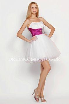 Dressy Tulle Empire Mini Length Rhinestones Cocktail Dress
