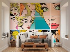 ohpopsi Couples Kissing Pop Art Wall Mural by ohpopsi.com only £42.99 with FREE postage and packaging #ohpopsi