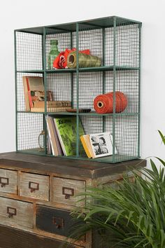 Industrial Wire Shelf *I would spray paint it a bright color like pink or orange*