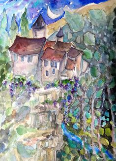 """""""Cradle Moon"""" my painting of a cliff top fairytale castle over The Dordogne, south west France."""