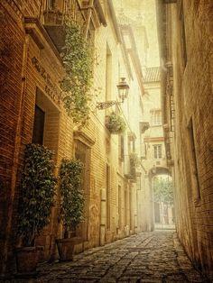Eso calle está en España y es muy estrecho.