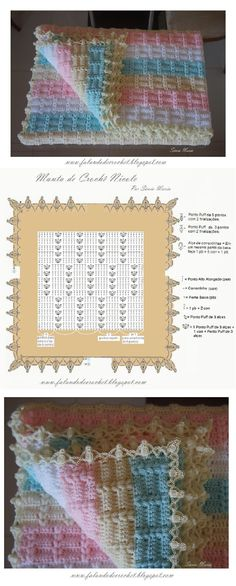 Crochet baby blanket - easy, quick and pretty! No pattern but does have a chart and it doesn't look to hard.