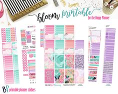 Bloom Weekly // Happy Planner // Printable Planner Stickers // Cut Line Files // Planner Printable by BEaYOUtifulPlanning on Etsy