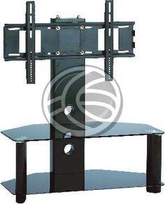 Soporte vertical con base fija para pantalla de hasta 50. Se trata de una estructura metálica fija que permite instalar una pantalla plana. Ideal para disponer de una pantalla plana y sus accesorios en una sala de reunión, aula virtual, etc. Modelo con estructura metálica de color negro y estanterias de cristal templado tintado en negro.