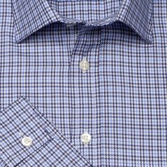 Navy Check Fully Fitted Shirt - 41579  This fully fitted John Francomb Classic has a semi-cutaway collar and single button cuffs. An Easy to Iron finish makes it easier to care for.