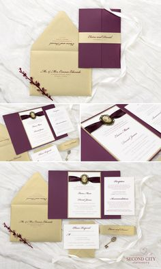 Gatefold Wedding Invitation with Vintage Style Cameo Silhouette Embellishment   Ivory, Gold Leaf, and Burgundy / Wine   The Cameo Suite