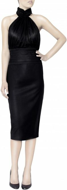 FracasNoir Black High Waist Pencil Skirt