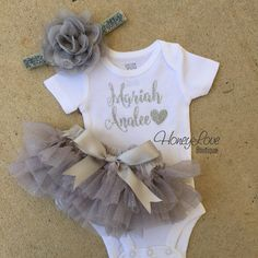 Personalized name glitter shirt, flower headband bow gray silver sparkle ruffle bloomers tutu skirt, newborn infant toddler baby girl outfit coming home take home monogram grey bodysuit by HoneyLoveBoutique