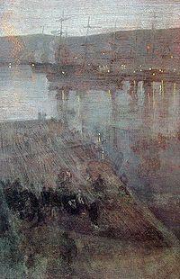 """El famoso pintor James McNeill Whistler se encontraba entre la tripulación de las naves de su país, la noche anterior al combate pintó su obra titulada """"Nocturne in Blue and Gold: Valparaíso Bay"""" que muestra a la flota mercante chilena esperando a ser destruida por la mañana."""