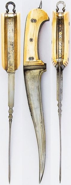 Afghanistan pesh kabz dagger, 18th to 19th, steel, silver, ivory, brass, gold, velvet, wood, L. 13 9/16 in. (34.4 cm); W. 1 15/16 in. (4.9 cm); Wt. 17.9 oz. (507.5 g), Met Museum, Bequest of George C. Stone, 1935.