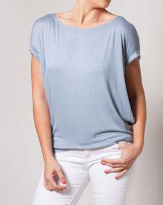 Steel Blue Short Sleeve Top