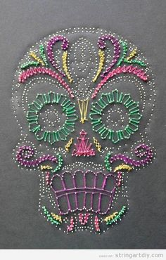 Sugar Skull String Art | String Art DIY | Free patterns and templates to make your own String Art