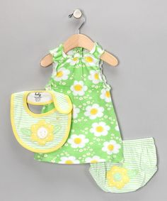Take a look at this Green & Yellow Floral Dress Set  by Mon Cheri Baby on #zulily today!