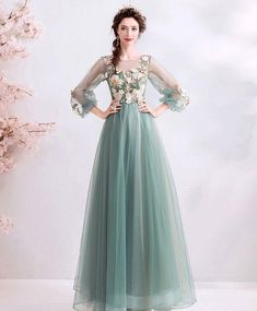 Flower Fairy Jade Green Prom Dresses 2019 A-Line / Princess Scoop Neck Lace Flower Appliques Pearl Rhinestone Sleeve Backless Floor-Length / Long Formal Dresses High Low Evening Dresses, Prom Dresses Under 100, Green Evening Dress, Long Sleeve Evening Dresses, Prom Dresses Long With Sleeves, Plus Size Prom Dresses, Cheap Prom Dresses, Dress Long, Prom Gowns