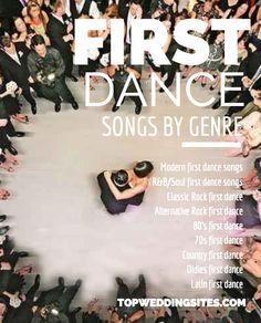 Top 5 First Dance Wedding Songs Listed by Genre | Team Wedding Blog #wedding #weddingmusic