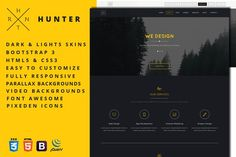 Hunter - One Page HTML5 Template. Bootstrap Themes. $10.00