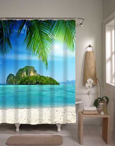 Tropical Shower Curtain Ocean Island Home от xOnceUponADesignx