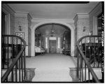 SECOND FLOOR HALL: LOOKING SOUTH FROM STAIR LANDING. NOTE PORTICO DOOR IN THE BACKGROUND (see also SC-497-9) - William Seabrook House ca.1810, Edisto Island