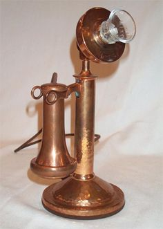 roycroft hammered copper arts and crafts antique candlestick telephone