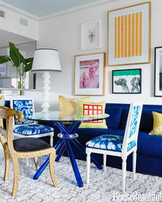 """""""The blue of the Mediterranean, and the tops of the churches in Santorini—or Papers and Paints' TC32. It's so rich and fabulous, perfect when paired with a grey or pink"""" -Sara Story As seen here in the dining area of designer Robert Passal's Miami Beach apartment.   - HouseBeautiful.com"""