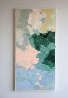 Original Acrylic Painting // Title: Waiting // 12 x 24 // Green, Hunter, Olive, Peach, Blue Brainstorm, Painting Inspiration, Design Inspiration, Painting & Drawing, Blue Painting, Modern Art, Art Projects, Art Drawings, Illustration Art
