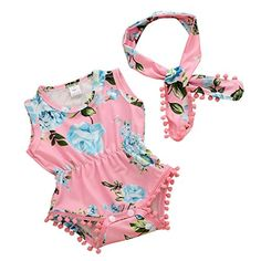 5aa2fa08a14 MIOIM Lovely Baby Girls Floral Crawl Romper Headband Onesie Sunsuit Outfits  -- To view further
