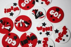 Fondant Cheer Cupcake Toppers - Cheerleading Cupcake Toppers - Cheerleader Cupcake Topper - Cheer Toppers by Les Pop Sweets on Gourmly