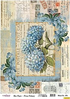 Vintage Labels, Vintage Cards, Vintage Paper, Vintage Postcards, Vintage Images, Vintage Scrapbook, Scrapbook Paper, Hydrangea Painting, Rice Paper Decoupage