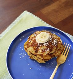 "From Oh, Joy!: ""Mix together one ripened banana, one egg, and one tablespoon of peanut butter, and it makes a pancake-like cake full of protein. . . . I do like to add half a tablespoon of flour to the mixture give it more structure, and the riper the bananas the better!"""