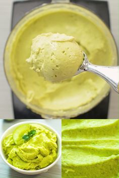 Avocado Ice Cream - This Avocado Ice Cream has a soft-serve texture, beautiful green color, an array of health benefits - Avocado Ice Cream, Healthy Ice Cream, Vegan Ice Cream, Avocado Toast, Green Ice Cream, Banana Ice Cream, Dog Treat Recipes, Dessert Recipes, Desserts