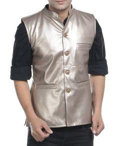 Copper brushed leather nehru jacket   1. Copper brushed faux leather jacket2. Chest size: Medium-40 inches, Large-42 inches, XL-44 inches3. Jacket length: 27 inches, Large-27 inches, 28, XL-44 inches