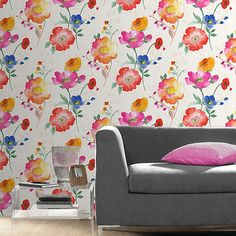 Dress your walls in quality Floral Wallpaper from classic vintage styles to modern statement wallpaper. Shop a range of wallpaper in Floral Designs on Home Flair Decor today. Watercolor Floral Wallpaper, Colorful Wallpaper, Of Wallpaper, Pattern Wallpaper, Watercolour, Flower Patterns, Accent Chairs, Floral Design, Furniture