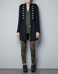 $159 MILITARY COAT WITH GOLD BUTTONS - Coats - Woman - ZARA United States