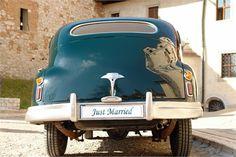 Turquoise wedding car