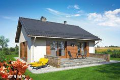 Mały energooszczędny dom parterowy tani w budowie. Ronaldo, House Plans, Pergola, Atrium, Shed, Outdoor Structures, House Styles, Outdoor Decor, Projects