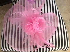 Pretty Pink Flower & Netting Fascinator on Alice headband.