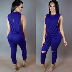 Backless Sexy Scoop Bandage Hollow Out Jumpsuits