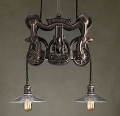 barn door roller light pendant! now this is cool!