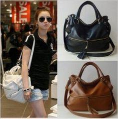 New Lady Korean Hobo Pu Tassel Leather Handbag Shoulder Bag Large Capacity Handbags Purses