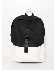 combo leather backpack white