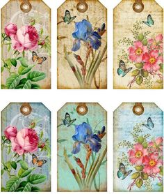 12 Hang Gift Tags Cottage Chic Floral Images 793 A | eBay