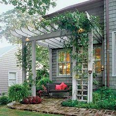 Diy Pergola, Small Pergola, Pergola Attached To House, Pergola With Roof, Wooden Pergola, Outdoor Pergola, Pergola Shade, Pergola Plans, Pergola Ideas