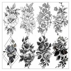 VANTATY 8 Sheets Petal Black Flower Rose Temporary Tattoos For Women Waterproof Fake Body Art Arm Sketch Tattoo Stickers For Girls Shoulder Arm Leaf Tatoo Adults Beauty. Rose Tattoos For Women, Shoulder Tattoos For Women, Sexy Tattoos For Girls, Black Tattoos, Body Art Tattoos, Tatoos, Black Flower Tattoos, Girl Leg Tattoos, Flower Sleeve