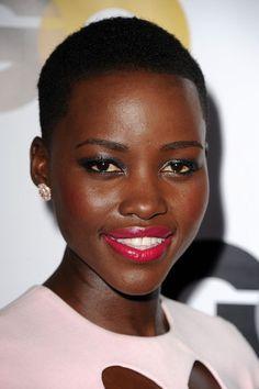 Lupita Nyong'o's stunning lip color (Armani Lip Maestro in Ecstasy)