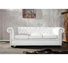 Canapé Chesterfield XL (3 places) blanc