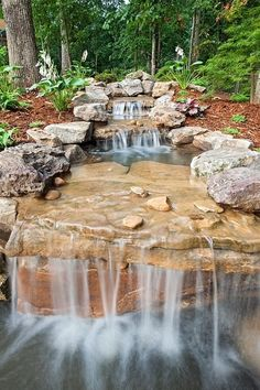 Having a pool sounds awesome especially if you are working with the best backyard pool landscaping ideas there is. How you design a proper backyard with a pool matters. Waterfall Landscaping, Garden Waterfall, Waterfall Fountain, Pond Landscaping, Modern Landscaping, Landscaping Design, Farmhouse Landscaping, Backyard Stream, Backyard Water Feature