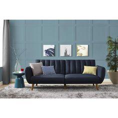 Mid Century Blue Linen Novogratz Brittany Futon   Overstock.com Shopping - The Best Deals on Futons