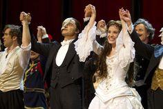 Ramin Karimloo (The Phantom of the Opera) and Sierra Boggess (Christine Daae) during the curtain call for the 25th anniversary of The Phantom of the Opera at the Royal Albert Hall, London, England on 2nd October 2011. Photo: Dan Wooller